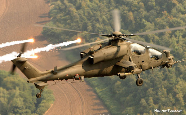 Italian army operates 45 Augusta A 129 Mangusta lightweight attack helicopters