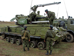 Tunguska air defense system with associated reloading vehicle